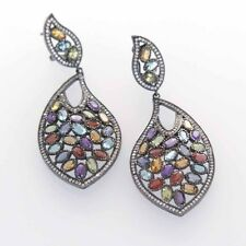 Natural Multi Color Gemstone Earrings in Solid Sterling Silver with Omega Clasp