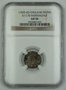 1035-42 England Danish Type Penny Silver Coin S-1170 HarthaCnut NGC AU-50 AKR