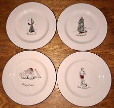 Merry Masterpieces 4 Christmas Dessert Plates International First Edition Nib