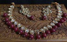 Ethnic Golden Kundan Necklace Earrings Jewelry Set