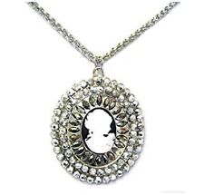 Silver Cameo Necklace Crystal Gothic Antique Vintage Style Pendant Jewellery UK