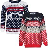 Ladies Mens Unisex 1970s Retro Reindeer Xmas Christmas Knitted Pullover Jumper