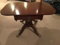 Vintage Regency Style Mahogany Pembroke style Drop Leaf End Table, One Drawer