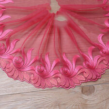 Rose Red Embroidered Edging Voile Lace Trim Trimming Ribbon Wedding Craft Cloth