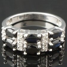 Two Row, Solid 14K White Gold, Sapphire & Diamond Estate Ring