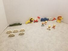 Vintage Crib Mobile Zoo Animals Hand Painted Wood 15 pieces