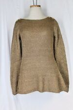 RALPH LAUREN Exclusive Tunic Sweater Top MEDIUM Gold Boat Neck Long Sleeve