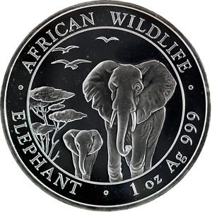 1 oz Silver Coin 2015 Somali Republic Elephant 100 Shillings .999 Fine BU