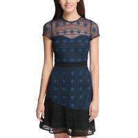 KENSIE DRESSES NEW Women's Illusion Lace Short Sleeve Dress TEDO