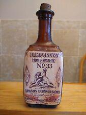Vintage Medicine Hand Crafted Bottle, Humphrey's NO.33, Spasms & Convulsions