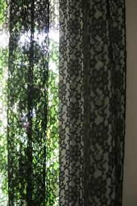 Floral Sheer Lace Window Curtain Panel Decorative Drapes for Home/Special Events