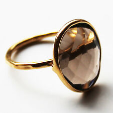 Faceted Semi-Precious Natural Stone Gold Statement Ring - Smokey Quartz Size 7