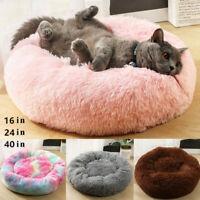 Donut Plush Pet Dog Cat Bed Fluffy Soft Warm Calming Bed Sleeping Kennel M L XL