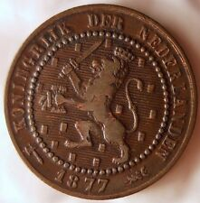 1877 NETHERLANDS CENT - 1st Year Key Date Coin - FREE SHIP WORLDWIDE - HV19