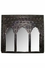 Huge Arabian Solid Wood Wall Mirror Handcarved  -100x90cm - India Moroccan