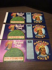 Lot of 3 Vintage Vegetable Can Labels - Maryland Chief - Early Peas - Baltimore
