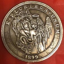 Very Large angel vs devil Tibetan Silver Morgan Dollar