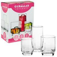 18 Pcs Drinking Glasses Cups Set Highball & Short Whiskey Tumblers - 2 Options