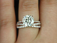 1.5ct Off White Yellow Real Moissanite 925 Sterling Silver Engagement Sz7 Ring