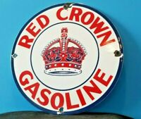 VINTAGE RED CROWN GASOLINE PORCELAIN GAS MOTOR SERVICE STATION PUMP PLATE SIGN