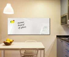 Glass Memo Board Magnetic Heat Resistant Toughened Glass 112cm x 45cm white