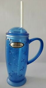 Rare 2001 Starbucks Blue Rocket Stars Tumbler 16oz Cup Cold Iced Drink Barista