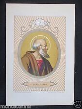 1879 SAN SIMPLICIO SIMPLICIUS ANTICA STAMPA CROMOLITOGRAFIA PAPA POPE D247 m