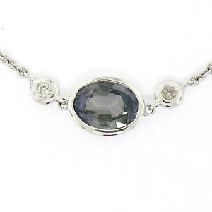 "NEW 18K W Gold 16"" 1.23ctw GIA Bluish Green Sapphire & Diamond Pendant Necklace"