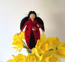 Needle Felted Ladybird Fairy Decoration, OOAK Art Doll, Toddler Bedroom Decor