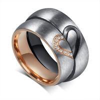 Fashion Korean Couple Love Heart Titanium Steel Promise Band  Rings Jewelry Gift