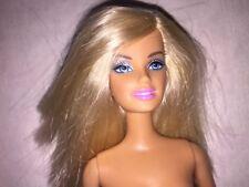 Nude Barbie Doll Mattel sleek Blonde Straight Hair Blue Eyes OOAK or Play