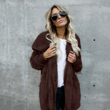 Womens Winter Hooded Fluffy Coat Fleece Fur Jacket Loose Tops Cardigan Outerwear