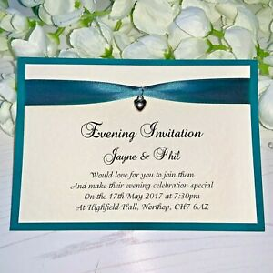Flat Wedding Evening Invitations - Teal Ribbon & Silver Heart Charm