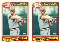 (2) 1989 Topps Hills Team MVP's Baseball #4 Tom Brunansky Card Lot Cardinals