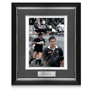 Zinzan Brooke Signed New Zealand All Blacks Rugby Photo. Deluxe Frame