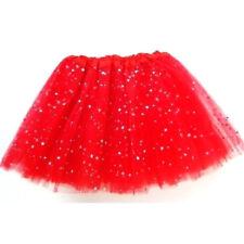 Falda Tutu Rojo con strass cintura elástica para Niña de Ballet Baile Danza