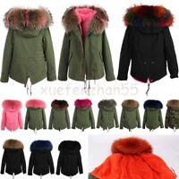 Women's Winter jacket Warm Coat Hooded Large 100% Real Raccoon Fur Collar Parka