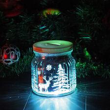 Indoor Outdoor Mason Jar Light Lamp Lantern Christmas Light with Remote Reindeer