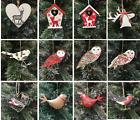 Selection Wooden Metal Hanging Reindeer Owl Bird Christmas Tree Decorations