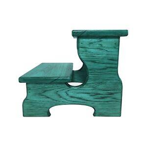 "Two Step Stool Wood 45"" Long Handicapped Elderly Custom Handmade Personalized"