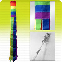 "60"" WINDSOCK Rainbow Flag Sewn Nylon Deluxe b"
