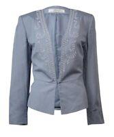 Tahari Women's Bead Embellished Long Sleeve Linen Blazer