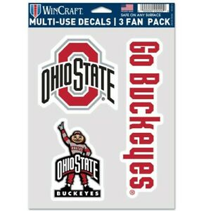 OHIO STATE BUCKEYES 3 PIECE MULTI-USE DECAL FAN PACK PERFECT FOR WINDOWS