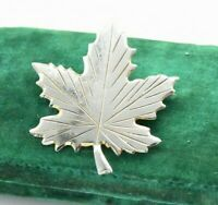 Vintage Sterling silver brooch pin Maple Leaf Art Nouveau statment gift #W922