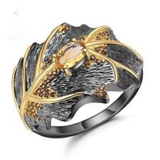 Wedding Jewelry Party Gift Size 5-10 Fashion Black Gold Citrine Ring Women Men