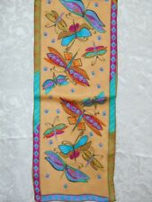 New 100% Silk Oblong Scarf Art Painting Dragonfly Gold