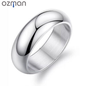 Men Classic Style 8mm Wedding Fashion Smooth Polished Silver Titanium Steel Ring
