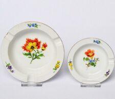 2 schöne Meissen Porzellan Aschenbecher bunte Blumen Ø 12 cm und 9 cm