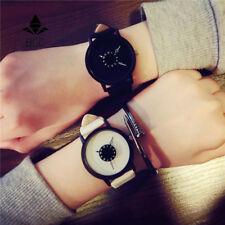 Montre femme homme quartz bracelet cuir originale blanche noire