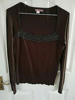 """ESPIRIT WOMENS BROWN SEQUINS BEADS JUMPER SIZE 10 M SQUARE NECK PIT TO PIT 17 """""""